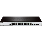 D-link des-3200-28 4-port UTP 10/100mbps + 4 combo 1000base-t/sfp, l2 management switch